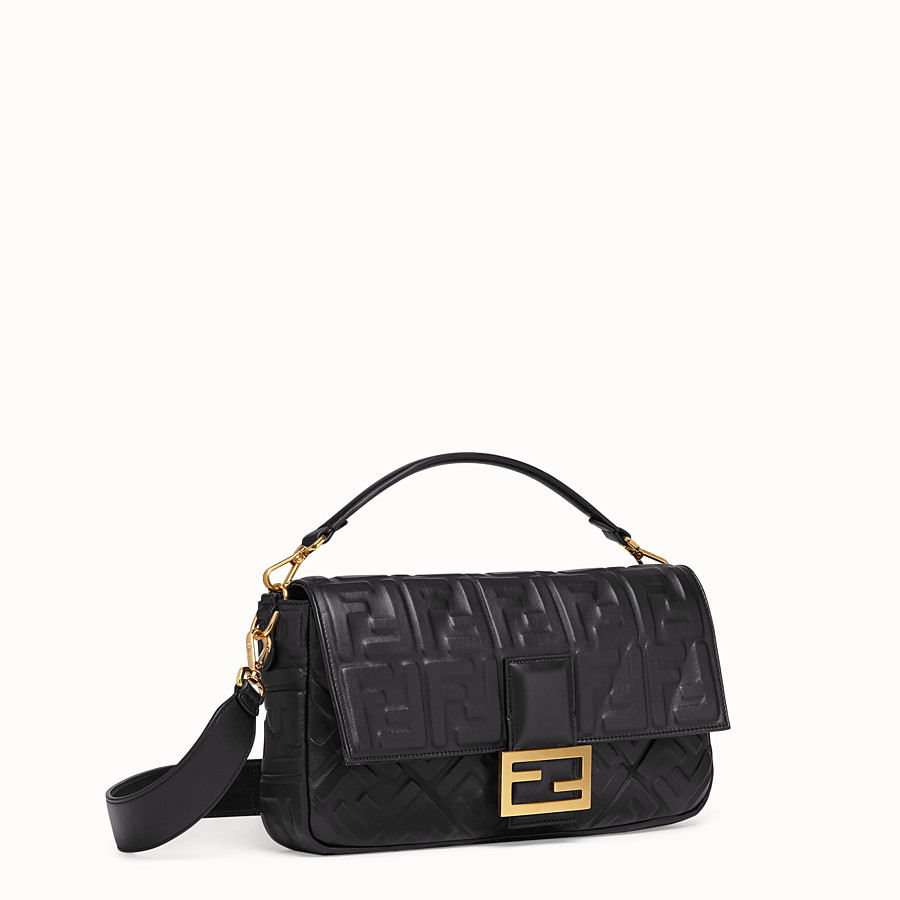 FENDI BAGUETTE LARGE - Black leather bag - view 3 detail
