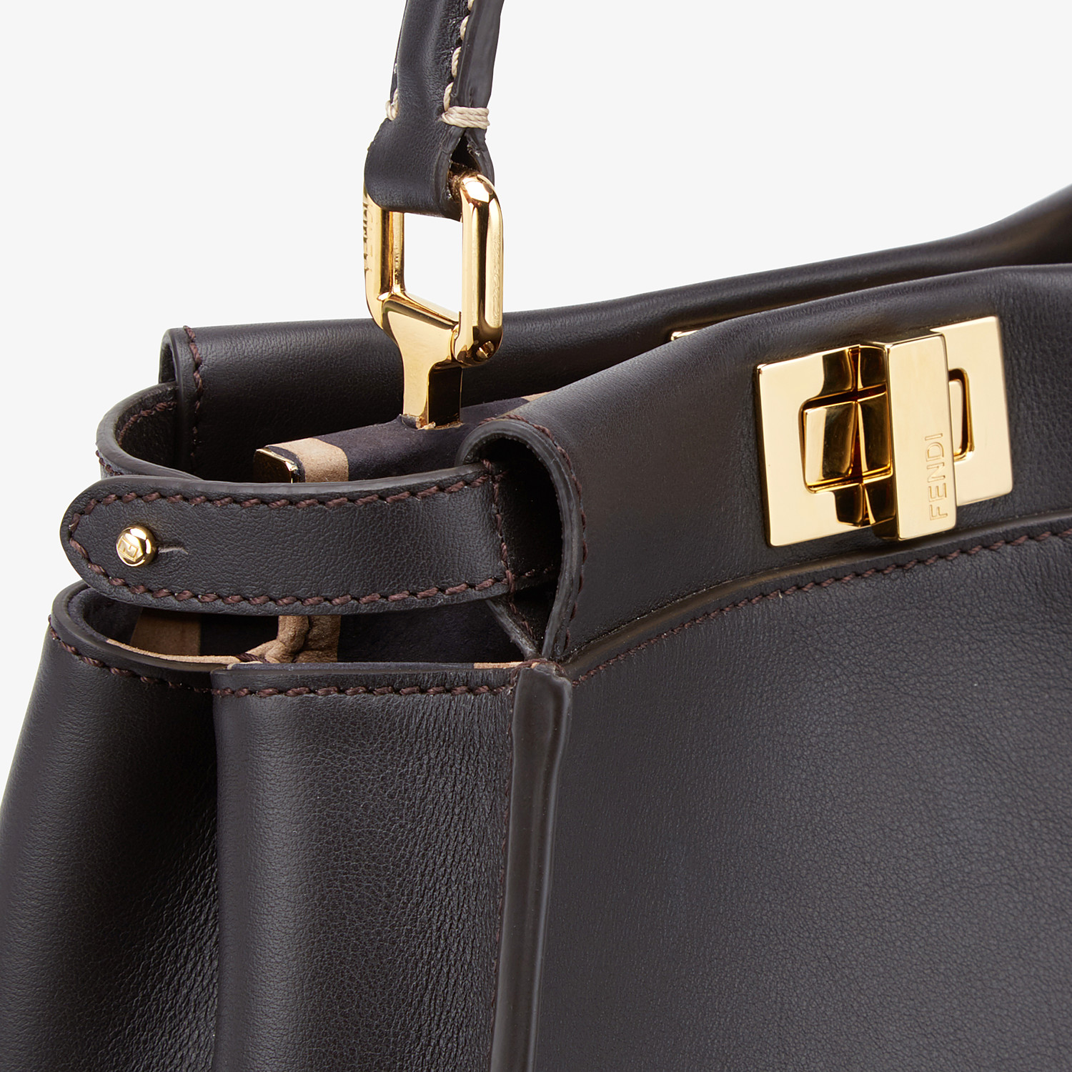 FENDI PEEKABOO ICONIC MINI - Brown leather bag - view 6 detail