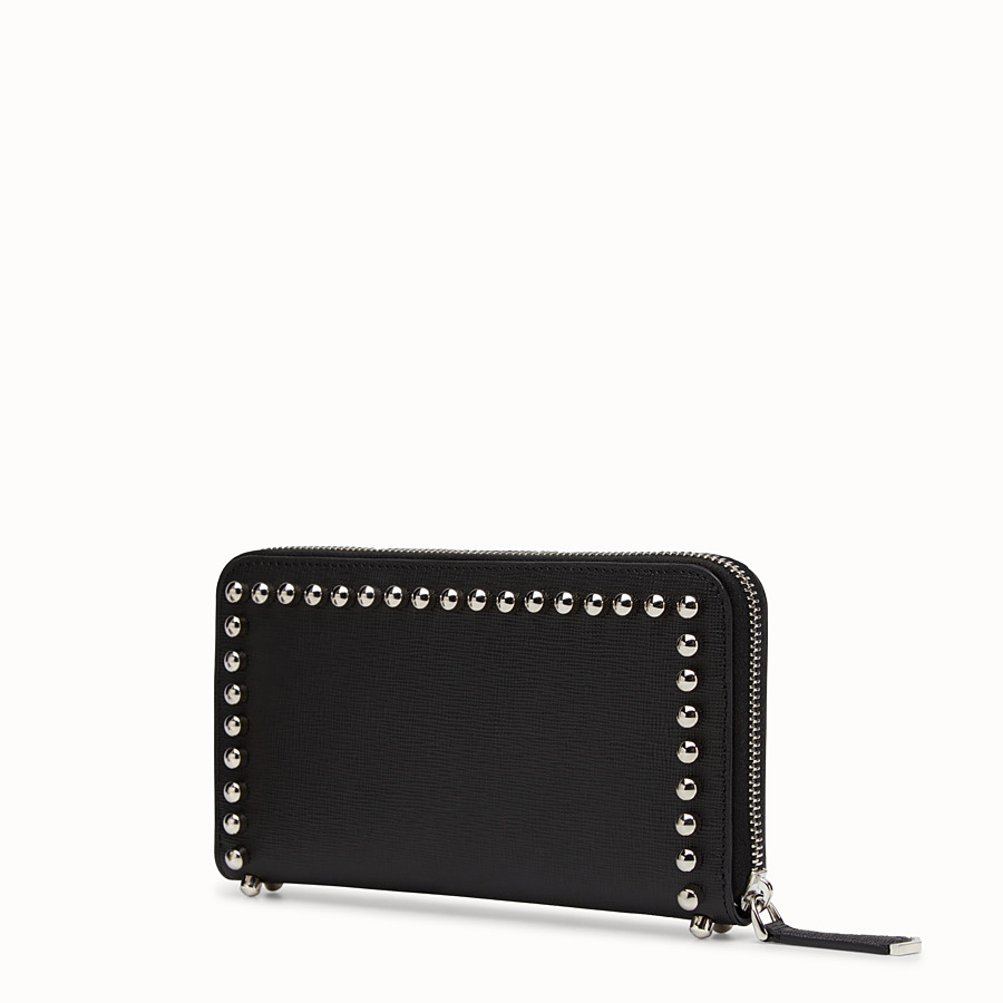 FENDI WALLET - Black leather zip-around wallet with inlay - view 2 detail