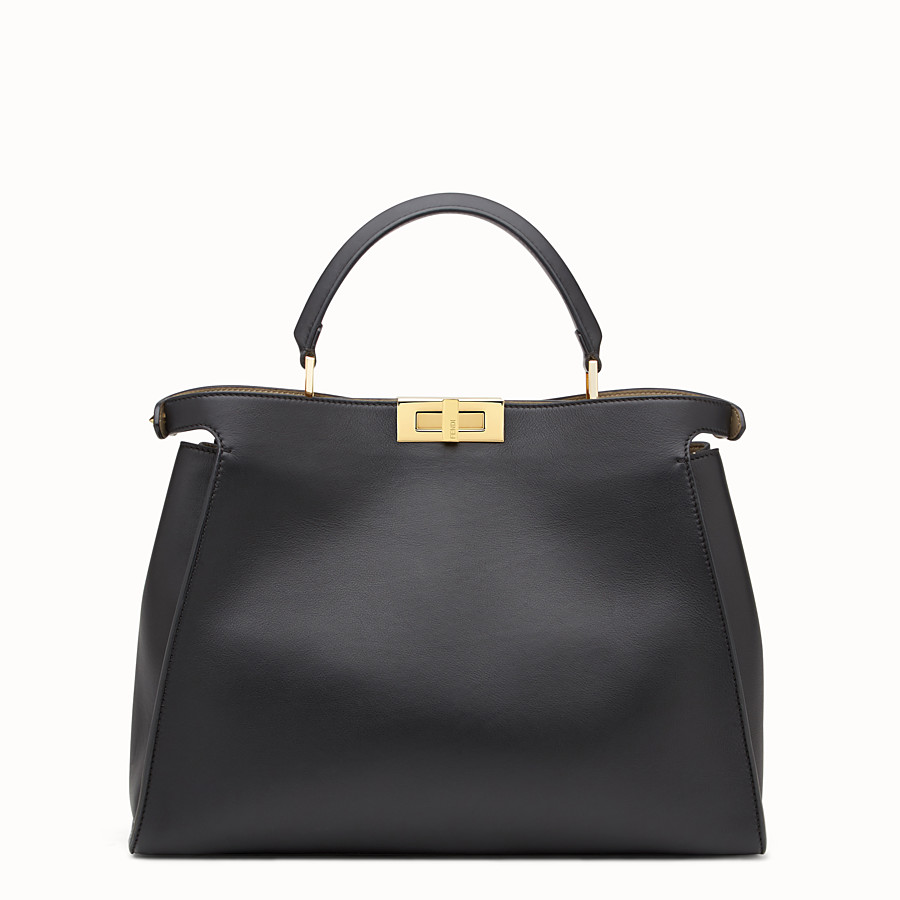 FENDI PEEKABOO ESSENTIAL - Black and beige leather handbag - view 3 detail