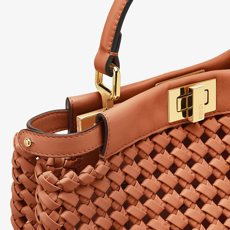 FENDI PEEKABOO ICONIC MINI - Brown leather interlace bag - view 6 detail