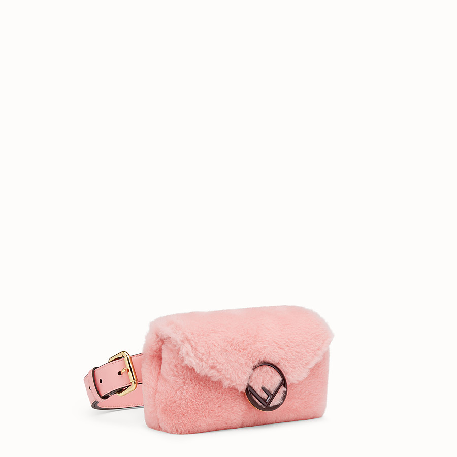 FENDI BELT BAG - Pink sheepskin belt bag - view 2 detail