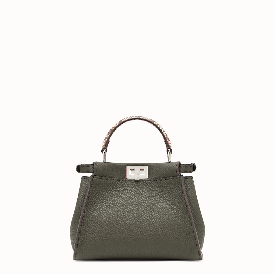 FENDI PEEKABOO MINI - Green leather bag with exotic details - view 3 detail