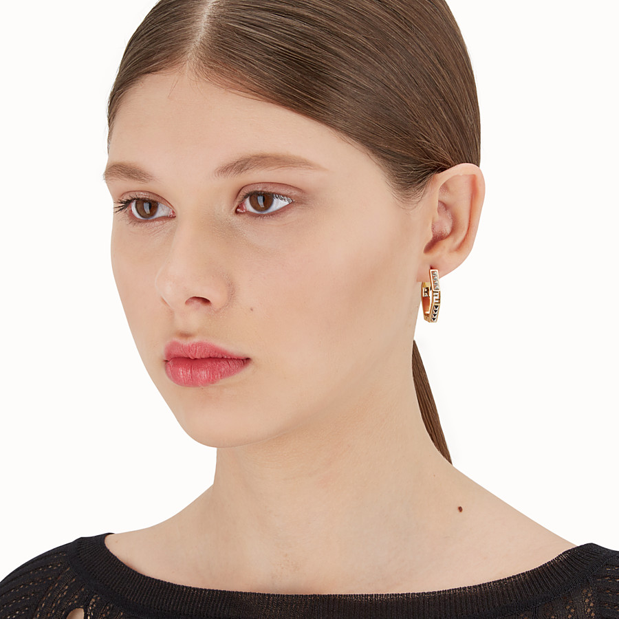 FENDI EARRINGS - Palladium and gold colour earrings - view 2 detail