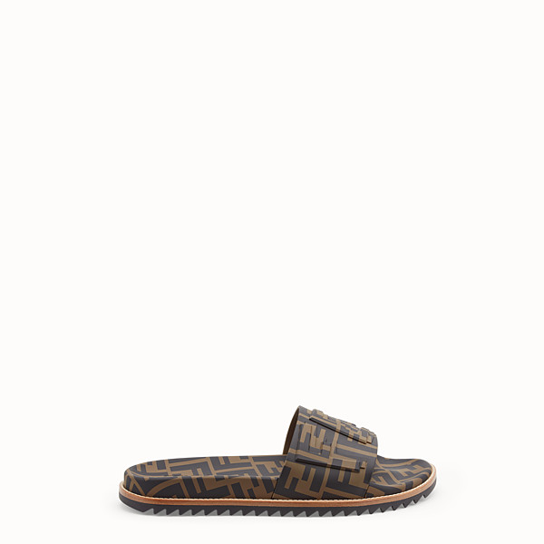 FENDI SLIDES - Brown TPU fussbett sandals - view 1 small thumbnail