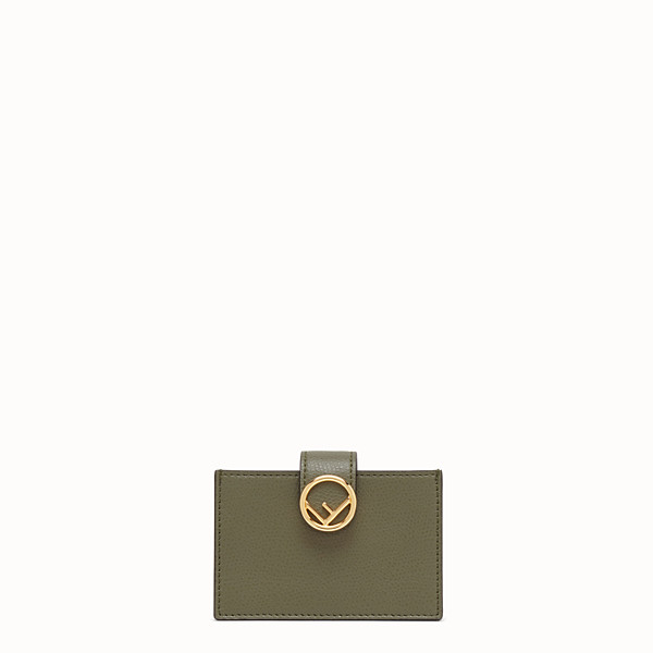 FENDI CARD HOLDER - Green leather gusseted card holder - view 1 small thumbnail