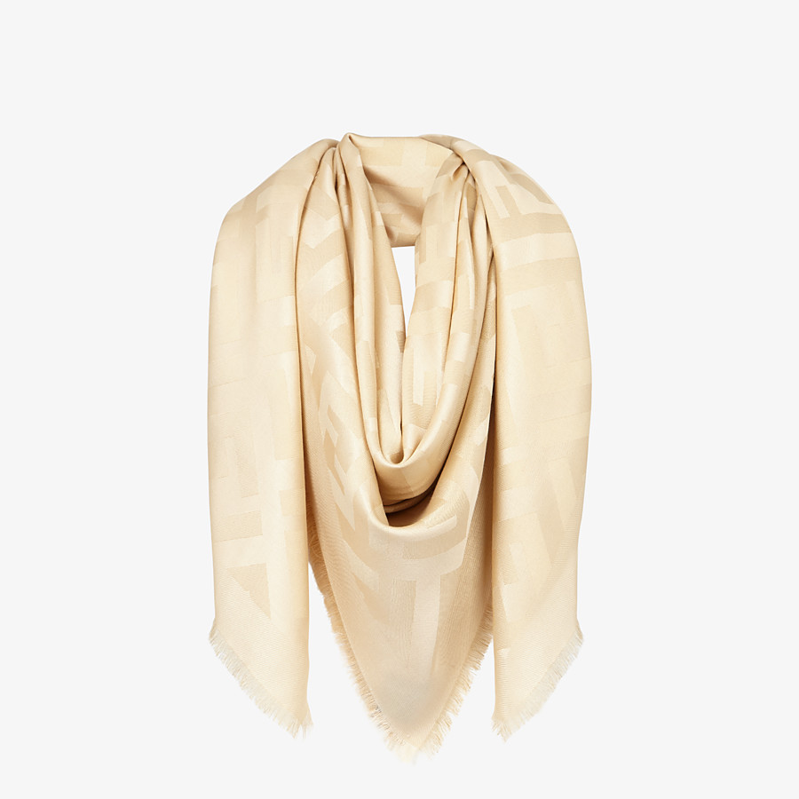 FENDI FF SHAWL - Beige silk shawl - view 2 detail