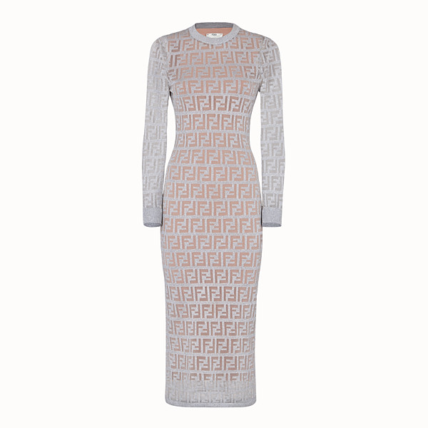 FENDI DRESS - Silver knitted dress - view 1 small thumbnail