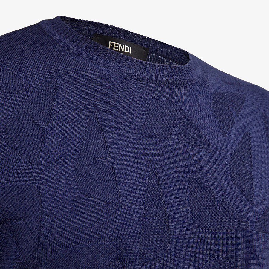 FENDI SWEATER - Blue wool sweater - view 3 detail