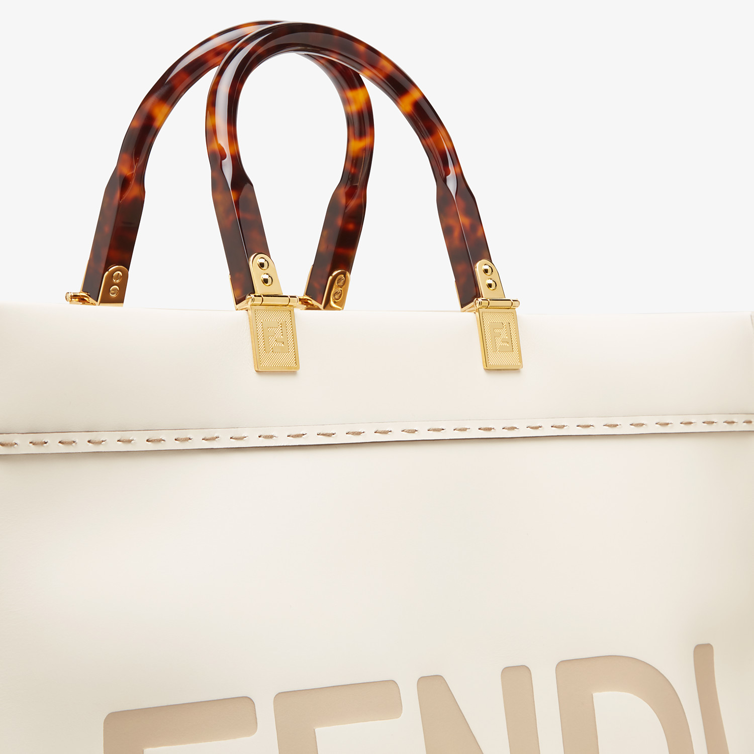 FENDI SUNSHINE SHOPPER - White leather shopper - view 6 detail