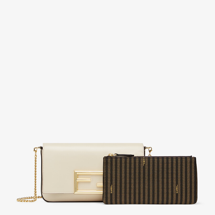 FENDI WALLET ON CHAIN WITH POUCHES - White leather mini-bag - view 2 detail
