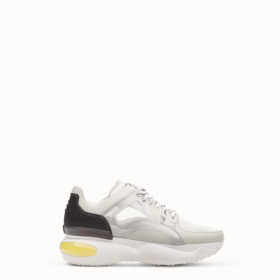 FENDI SNEAKERS - White technical mesh, leather and vinyl sneakers - view 1 detail