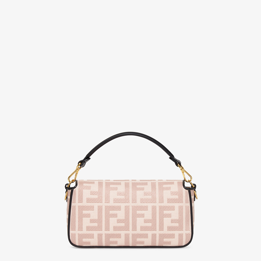 FENDI BAGUETTE - Embroidered pink canvas bag - view 3 detail