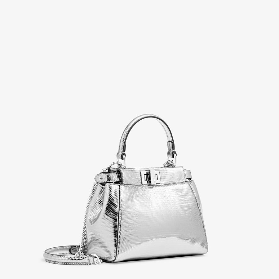FENDI PEEKABOO ICONIC XS - Mini-bag in silver lizard - view 2 detail