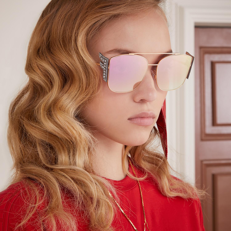 FENDI FFREEDOM - Gold-coloured sunglasses - view 4 detail
