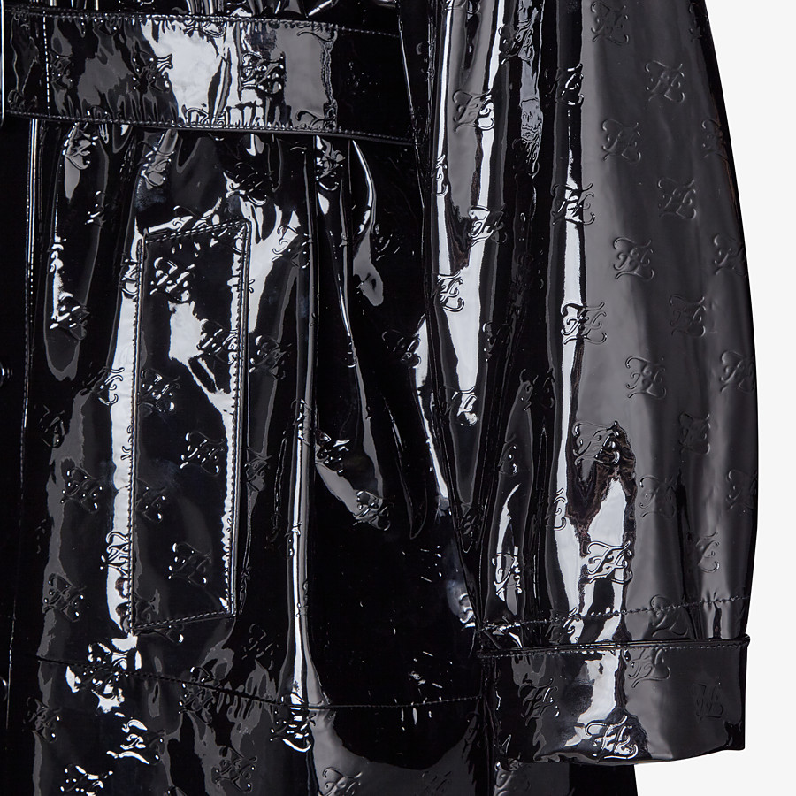 FENDI OVERCOAT - Parka in black patent leather - view 3 detail