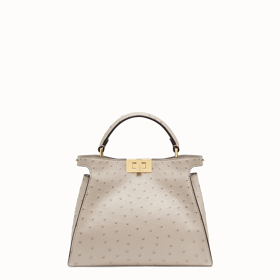 FENDI PEEKABOO ICONIC ESSENTIALLY - Grey ostrich leather bag - view 1 detail