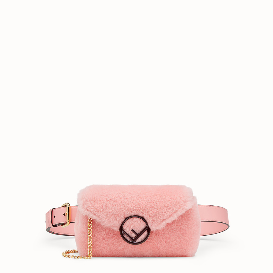 FENDI BELT BAG - Pink sheepskin belt bag - view 1 detail