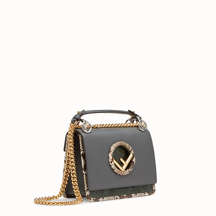 FENDI KAN I F SMALL - Grey leather mini-bag with exotic details - view 2 detail