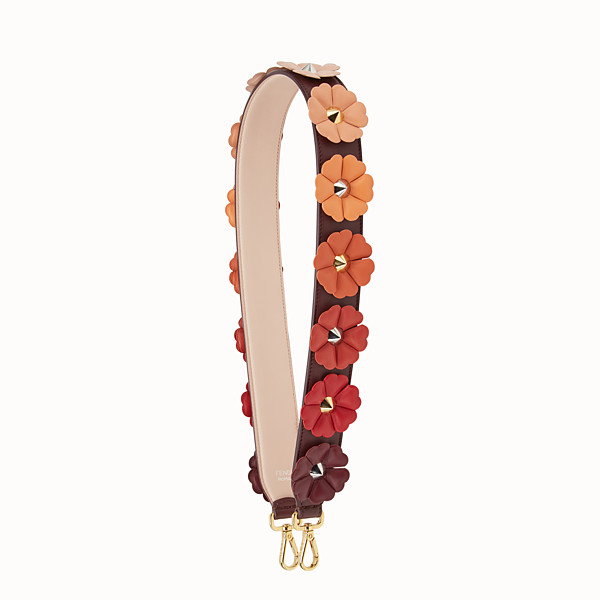 FENDI STRAP YOU - Shoulder strap in burgundy leather with flowers - view 1 small thumbnail