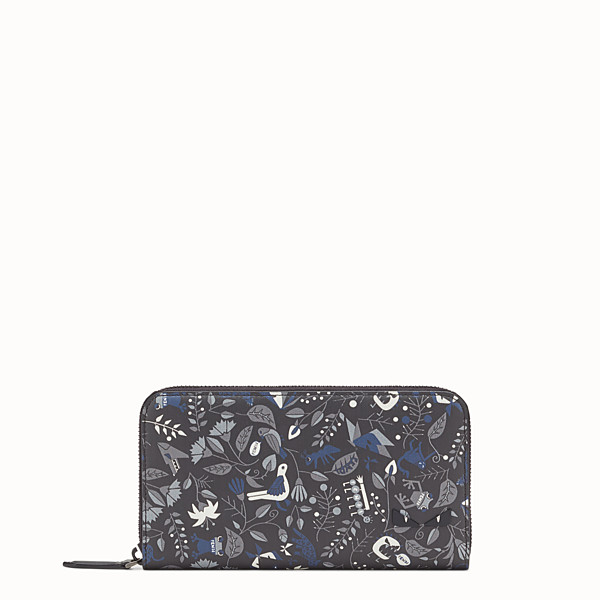 FENDI WALLET - Printed black leather zip-around - view 1 small thumbnail