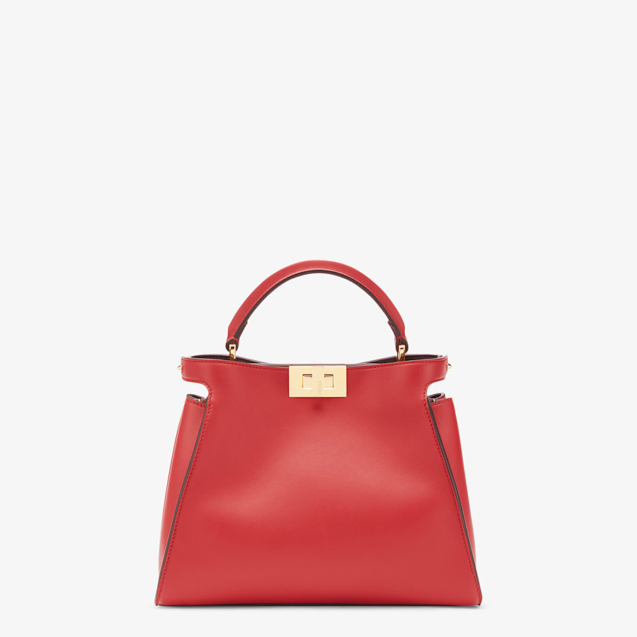 FENDI PEEKABOO ICONIC ESSENTIALLY - Red leather bag - view 1 detail