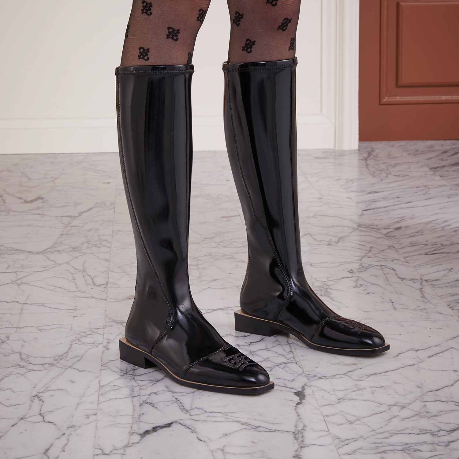 FENDI BOOTS - Glossy black neoprene boots - view 5 detail