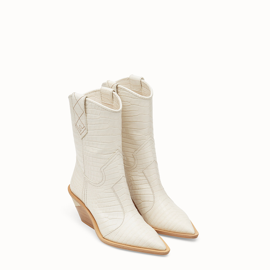 FENDI BOOTS - White crocodile-embossed ankle boots - view 4 detail