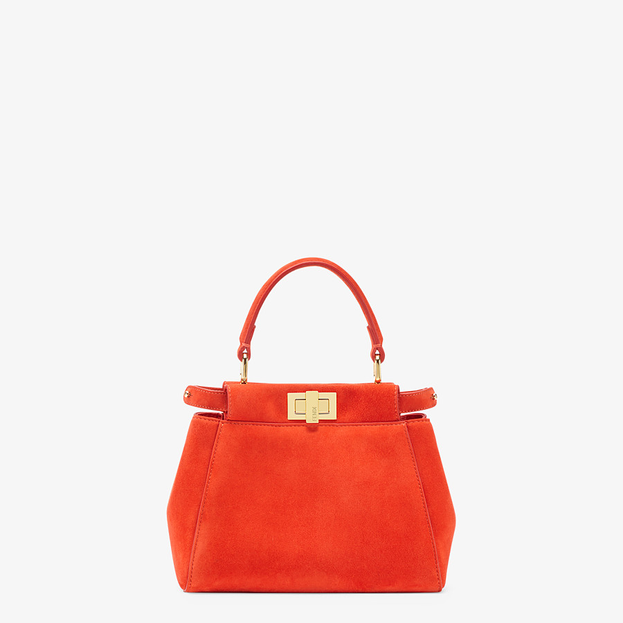 FENDI PEEKABOO ICONIC XS - Minibag in suede rosso - vista 1 dettaglio