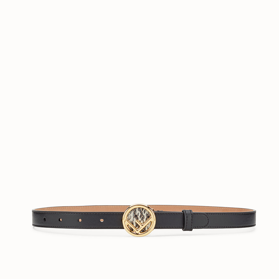 FENDI F IS FENDI BELT - Black leather belt - view 1 detail