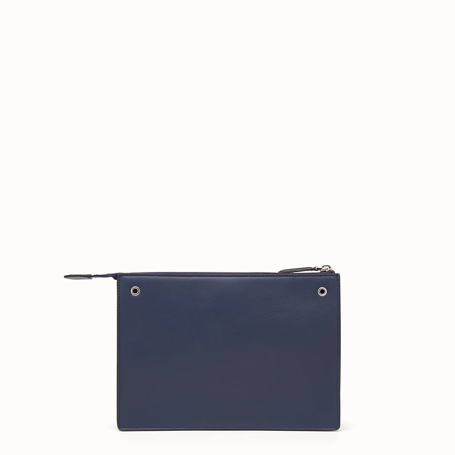 FENDI MINI POUCH - Studded pouch in blue leather - view 3 detail