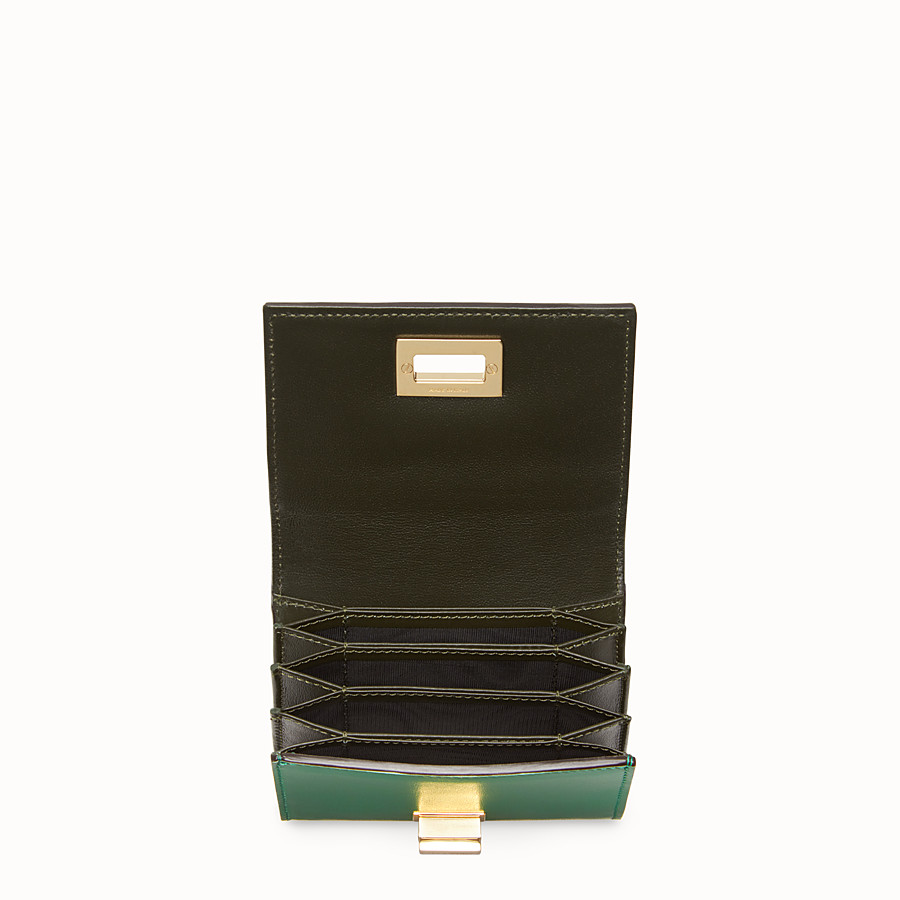 FENDI CARD HOLDER - Mini green leather wallet - view 4 detail