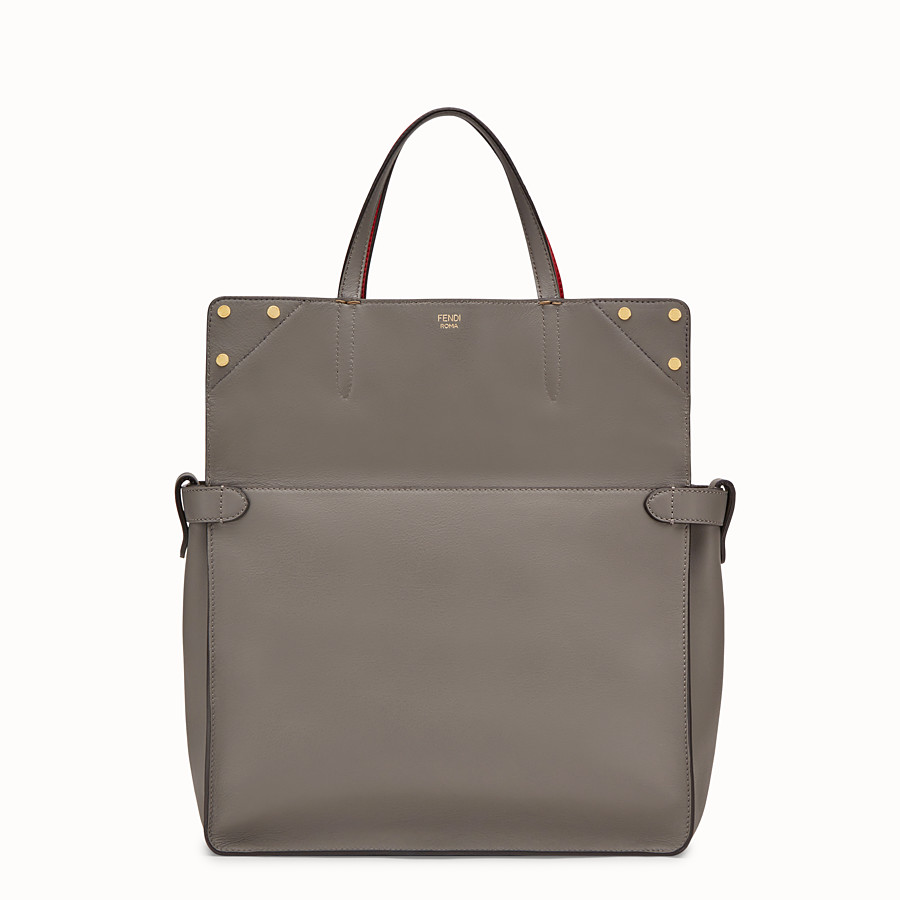 FENDI FENDI FLIP LARGE - Grey leather bag - view 2 detail