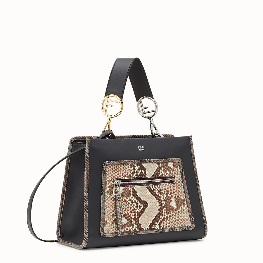 FENDI RUNAWAY SMALL - Black leather bag with exotic details - view 2 detail