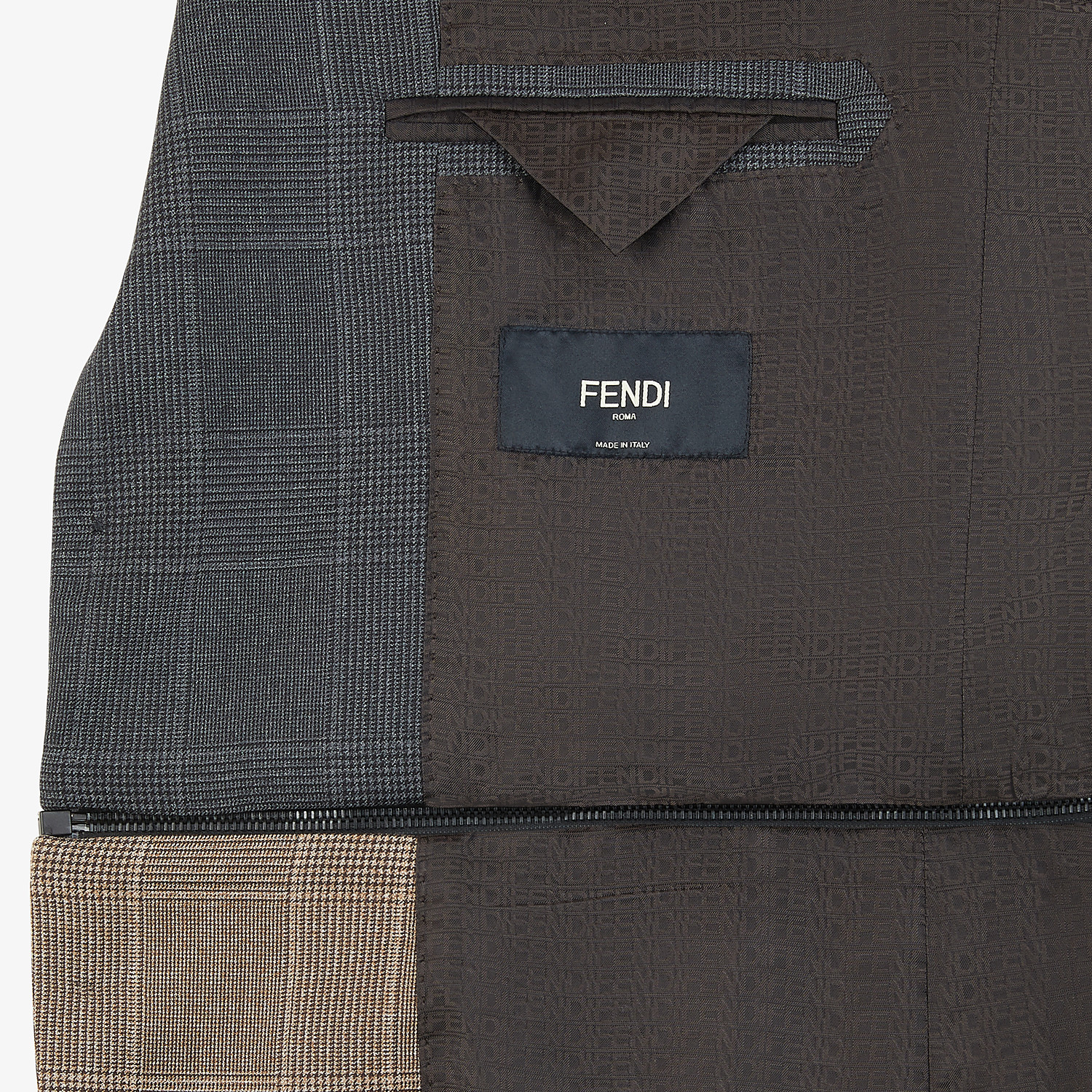 FENDI JACKET - Multicolour Prince of Wales check blazer - view 5 detail