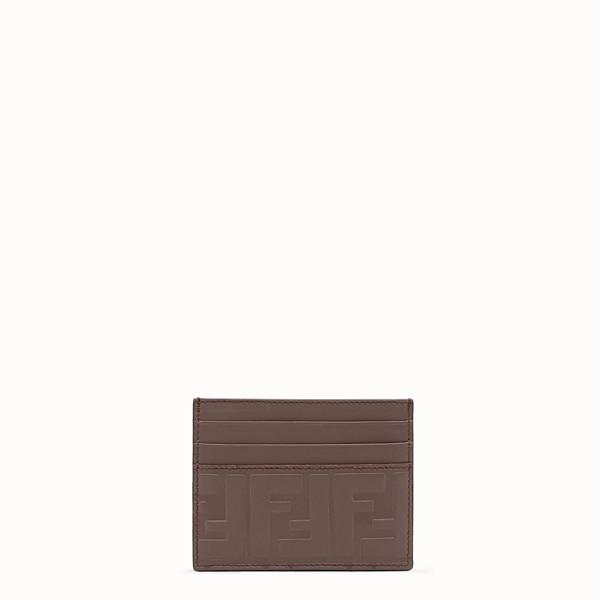 FENDI CARD HOLDER - Brown leather card holder - view 1 small thumbnail