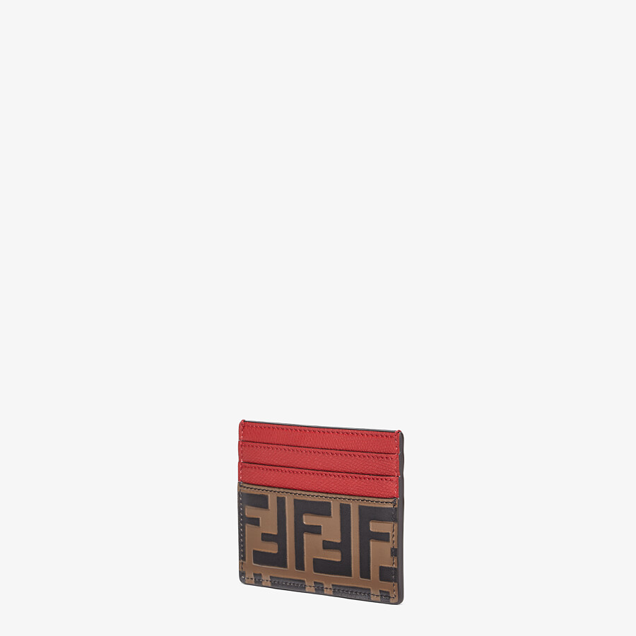 FENDI CARD HOLDER - Red leather flat card holder - view 2 detail