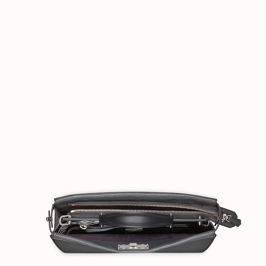 FENDI PEEKABOO FIT - Grey leather bag - view 4 detail