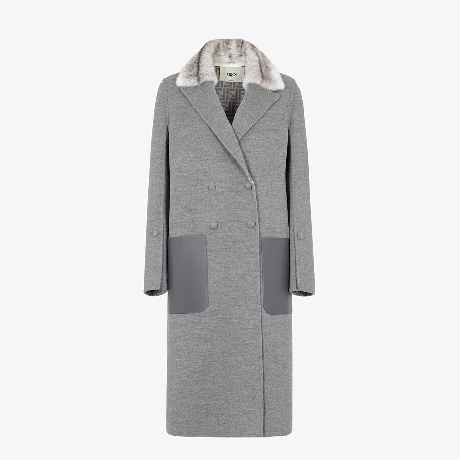 FENDI COAT - Grey double-sided wool coat - view 1 detail