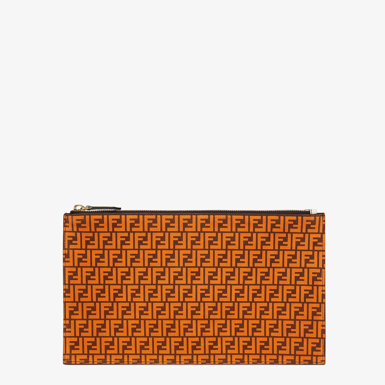 FENDI FLAT POUCH MEDIUM - Orange leather pouch - view 1 detail