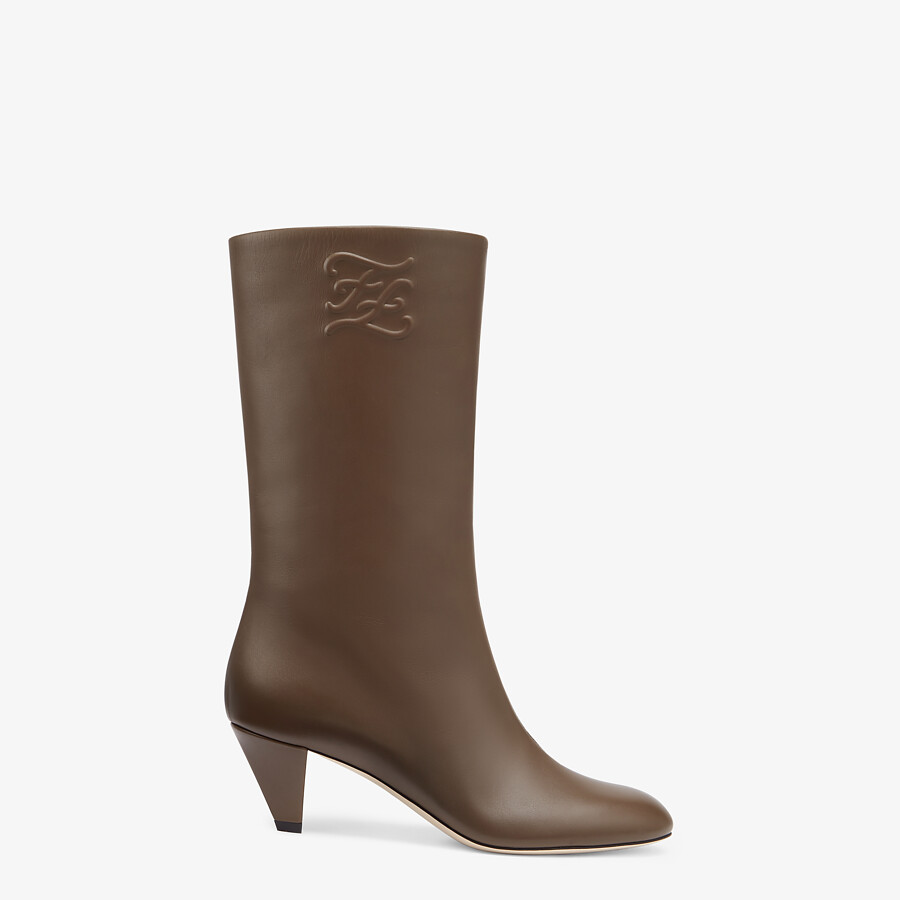 FENDI KARLIGRAPHY - Brown leather boots with medium heel - view 1 detail
