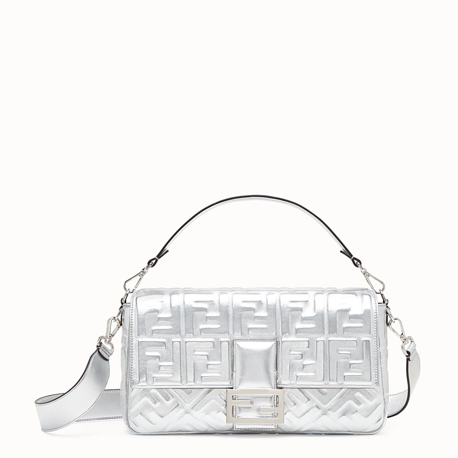 FENDI BAGUETTE LARGE - Silver leather bag - view 1 detail