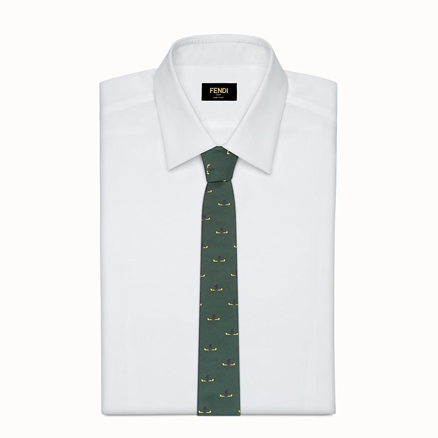 FENDI TIE - Green silk twill tie - view 2 detail