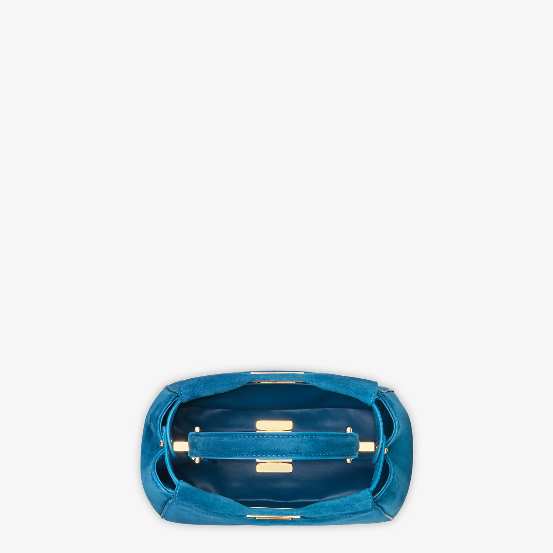 FENDI PEEKABOO ICONIC XS - Minibag in suede blu - vista 5 dettaglio