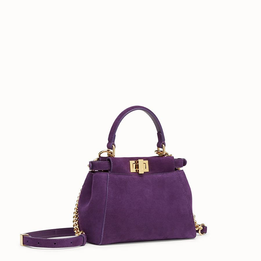 FENDI PEEKABOO ICONIC XS - Purple suede mini-bag - view 2 detail