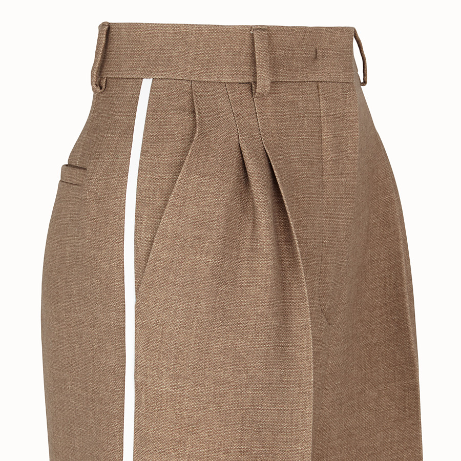 FENDI TROUSERS - Beige silk and wool trousers - view 3 detail