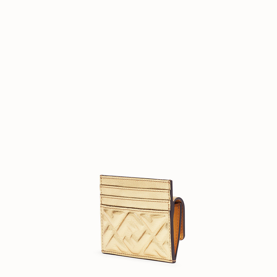 FENDI CARD HOLDER - Gold leather cardholder - view 2 detail