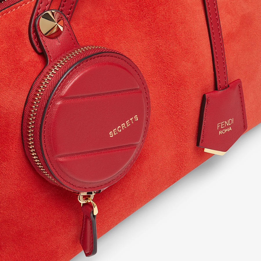 FENDI BY THE WAY MEDIUM - Red suede Boston bag - view 5 detail