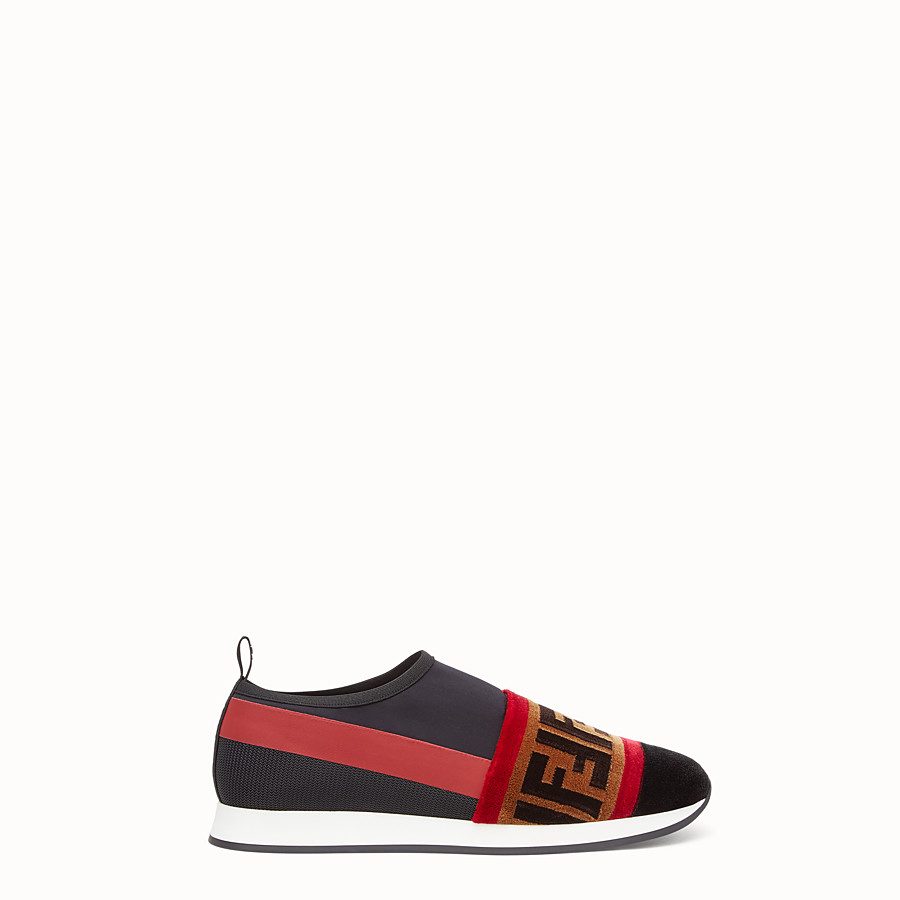 FENDI SNEAKERS - Black tech fabric slip-ons - view 1 detail