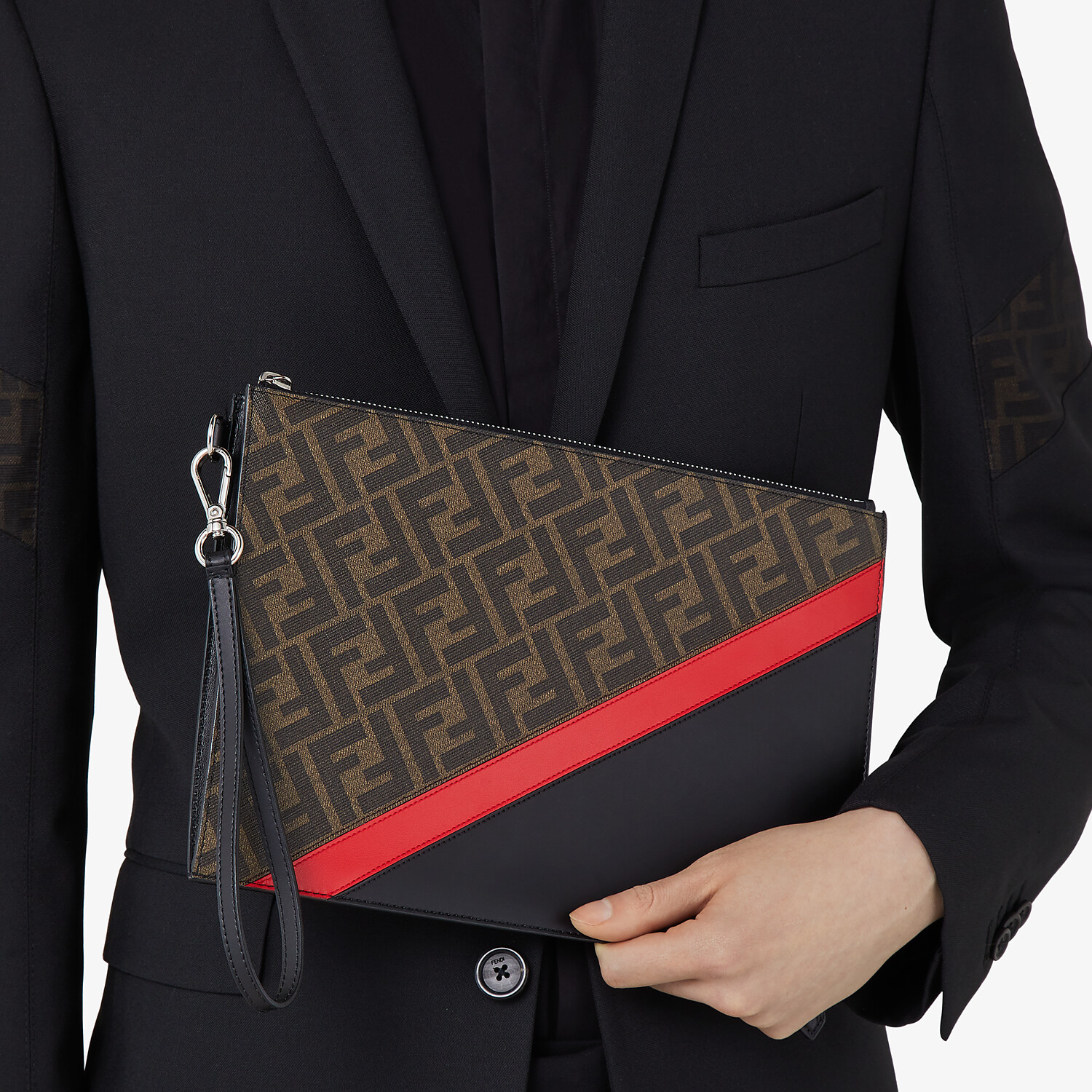 FENDI FLAT POUCH - Brown fabric bag - view 4 detail